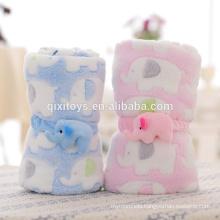 Professional customized good quality funny plush blanket baby toys with elephant design