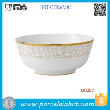 China White Goden Decorative Ceramic Salad Bowl