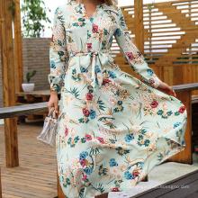 Women Casual Long Sleeve Chiffon Lace Dress