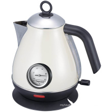 Cream Color Stainless Steel Cordless Jug Electric Kettle with Thermometer