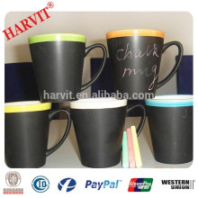 Beverage Promotional Items Advertisement World Cup Gifts / Wholesale Sublimation Mugs With Chalk / Ceramic Black Chalk Mug