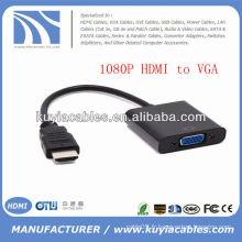 1080p Adaptateur de câble vidéo HDMI vers VGA Chipset intégré Noir