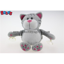 Plush Suction Cup Cat Toy Stuffed Grey Cat Animal Toys with Plastic Suction Cups Bos1139