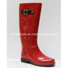 Sexy Red Winter Flat Women Long Rubber Boots