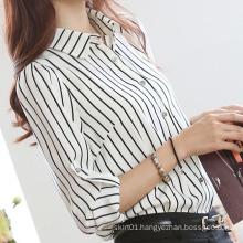 Fashion Women Stripe Shirt White and Black