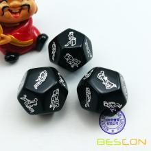 Black 12 Sides Love Dice Lover Sex Position Dice for Adult Couples Dirty Die Game Adult Fun Toy Sex Games