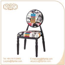 Novedosos taburetes de silla de metal de hierro de diseño colorido de la cafetería con respaldo