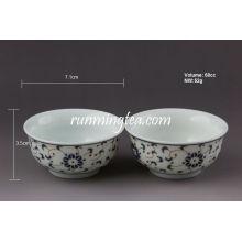 Tasse à thé en porcelaine à fleurs douces et ortes, 60 cc / tasse