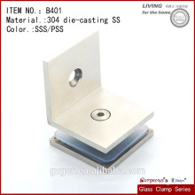 304SS Satin Finish 90 degree Glass Clamp Hinge for glass door/shower door