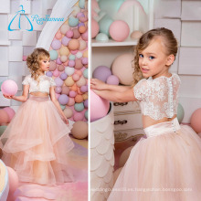 2017 Tulle Satin Lace Tiered Button Pequeña princesa Flower Girl Dresses