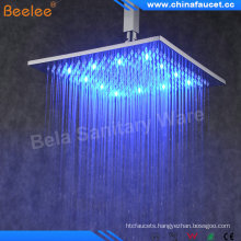 "Beelee 8"" Brass Square Rainfall Rain LED Shower Head"