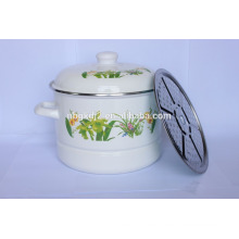 double layer enamel steamer pot with full color