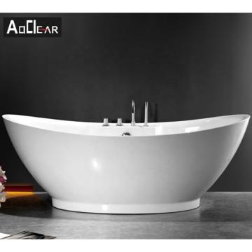 Aokeliya acrylic resin modern fancy oval freestanding bathroom bathtub with shower