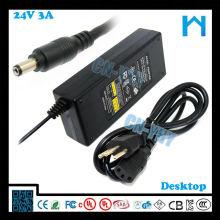 Ul enumerado 24v 72w 3a dc adaptador LED LCD CCTV y dispositivos de escritorio con CE FCC GS C-tick, UL / CUL
