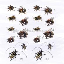 3D simulé bumble bee Cockroach tatouage autocollant non-toxique pour Tricky
