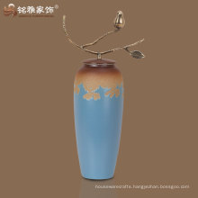 wholesale good quality european style porcelain vase with brass handle