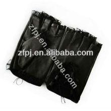Lace design summer black leather girls fingerless gloves
