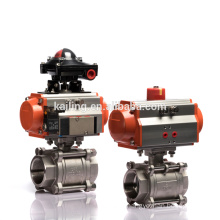 Pneumatic Actuator Full Bore 3PCS CF8M Stainless Steel Ball Valve