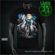 Y-100213 Glowing Wolf Tattoo T-shirt