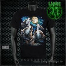 Y-100213 T-shirt de incandescência do tatuagem do lobo