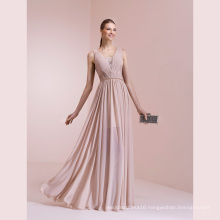 Chiffon Pleat Lace A Line Floor Length Evening Dress