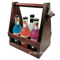 Six Pack Handcrafted Wooden Beer Carrier with Bottle Opener