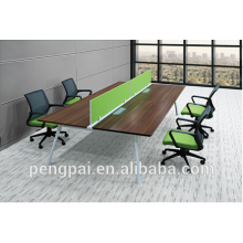 Long four seater green workstation staff desk