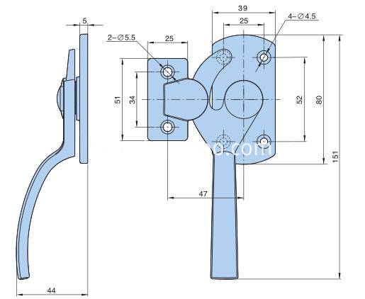 Rotate the pressing door handle