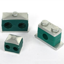 stainless steel/PP plastic double holes pipe heavy type hydraulic tube clamps