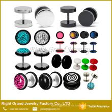 Benutzerdefinierte neueste Design Edelstahl Multi-Edelsteine Fake Plug Ohrringe