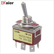15A 250V (ON) -OFF- (ON) Retorno de resorte 6Pin Interruptor de palanca DPDT Momentáneo