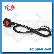 BS 13A 250V UK plug stripped ac power cord with fuse