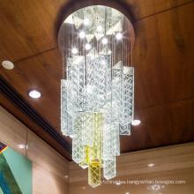 long shape fancy led hand blown pendant light glass chandelier for high ceiling