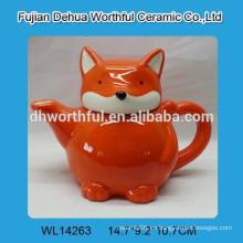 Olla de té de cerámica de zorro naranja popular