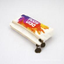 High Quality Eco Friendly Cotton Makeup Bag with Zipper Organizer Reusable Canvas Cosmetic Bag