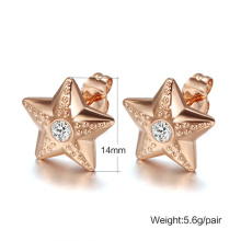 Fashiona Rose gold Star Stainless steel stud earrings free shipping