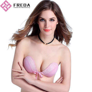 Fashion Pink Lace Push up bez ramiączek biustonosz