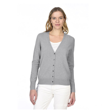 PK18A64HX Women's 100%Cashmere Button Front Long Sleeve V-neck Cardigan