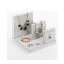 Exhibición caliente del collar de la joyería del terciopelo gris al por mayor (N-ST-4)