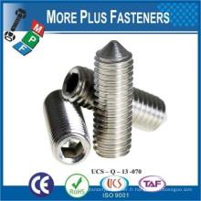 Fabriqué en Taiwan Jeu à six pans creux Point de cône ISO 4027 DIN 914 en acier inoxydable ou en acier au carbone Zingué