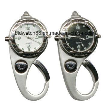 Melhor relógio de mosquetão impermeável com bússola e lanterna