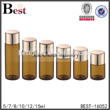 sample glass vial 2ml 100ml amber glass vial empty amber color glass bottle with gold aluminum metal screw cap china supplier