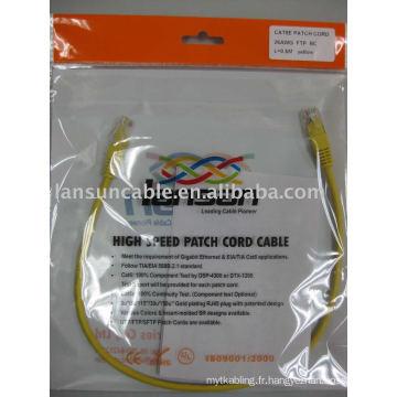 "Cat5e FTP 26AWG Patch Cord UL List Pass Fluke Test RJ45 plaqué or 3U ""/ 50U"""