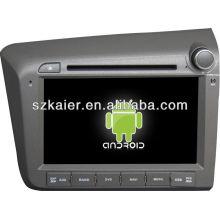 Reprodutor de DVD do carro do sistema de Android para Honda Civic 2012 (direito) com GPS, Bluetooth, 3G, iPod, jogos, zona dupla, controle de volante