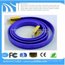 Позолоченный высокоскоростной плоский кабель HDMI 2.0 Поддержка 4k * 2K, 1080p, 3D, Ethernet