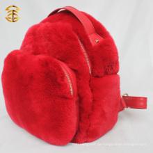 Kaninchen Pelz Leder Rucksack Plain Fancy Red Kaninchen Pelz Tasche Rucksack