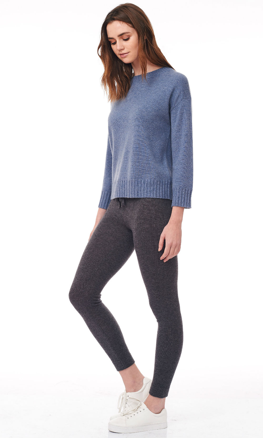 blue cropped round neck sweater side