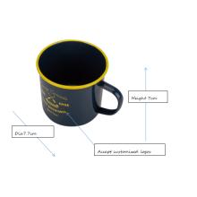 Navy blue camping mug with rim