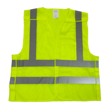 Chaleco reflectante reflectante de 5 puntos de color amarillo fluorescente
