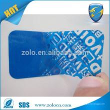O texto adulterado personalizado azul brilhante usa uma etiqueta de etiqueta de segurança anti-falso